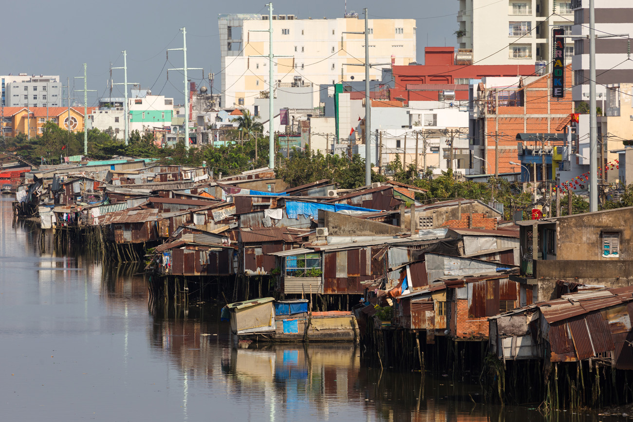 Views of Saigon`s city slums