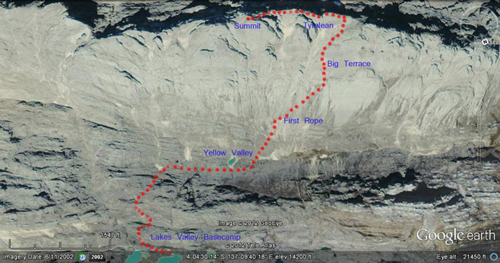 Map indicating the last section of the route from the Yellow Valley Base Camp